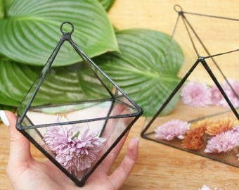 Glass terrarium  Octahedron Geometric  Stained glass