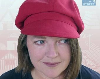 Newsboy cap red cotton cap peaked cap baker boy cap cycling boho cap