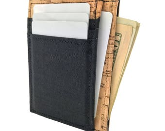 Handmade in California: Vegan Cork Front Pocket Deluxe Wallet with Cordura Nylon Canvas