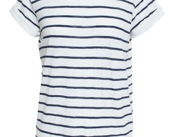 New Vince Women Striped Cotton Rolled Short Sleeves Shirt Top Tee Blue - White Small S
