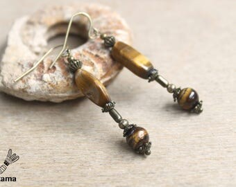 Bronze earrings rustic Tiger's eye • • • • poetic jewelry ethnic jewelry • creative • Brown • jewelry Tribal