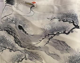 Wonderful workmanship in this artist and designer/handmade/rolled vintage 100% silk scarf made Japan.