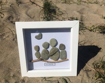 Pebble Artwork - Contemporary Picture using locally found pebbles from the Cornish Coast. Family of Four - Customise with your name.
