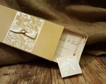 luxurious wedding invitation box invitation ivory velvet wedding invitation ivory boxed wedding invitations - Wedding Invitation Boxes