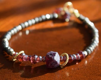 Garnet Pyrite and Gold Artisan Bracelet~ January Birthstone Bracelet~ Energy Stone Bracelet~ Valentine's Day Idea