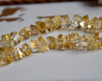 """Citrine Nugget Beads~ 7"""" strand natural CITRINE faceted gem stone nugget beads 7mm yellow"""