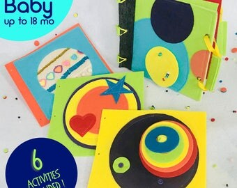 First Birthday Quiet Book for 1 Year Old - Felt Busy Book with 6 Activities - Learning Toy - Best First Birthday Gift for Baby Girl or Boy