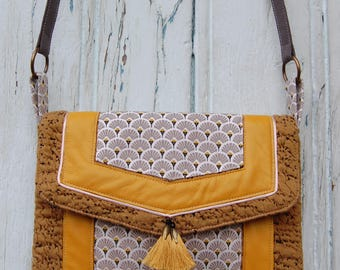 Bag jacquard mustard, tassels and mustard yellow leather