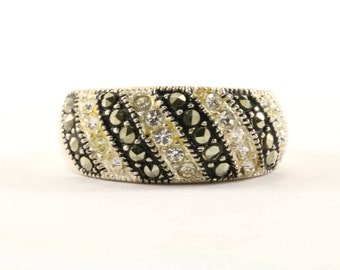 Vintage Black and White Stripes Design Band Ring 925 Sterling RG 2452