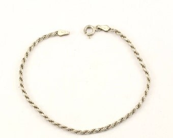 Vintage Italy Rope Chain Bracelet Sterling Silver BR 2332