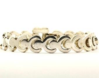 Vintage Modern Design Finish Link Bracelet 925 Sterling BR 2406