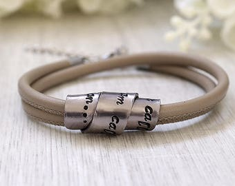 Leather bracelets for women - Secret message bracelet - Gift for her - Anniversary gifts for women - Leather Anniversary gifts for her