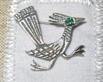 Sterling Silver Road Runner Pin with Emerald Eye
