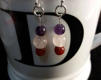 Three Wishes 925S Sterling Silver Earrings with Three Natural Stones (Amethyst, Rose Quartz and Red Agate)