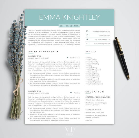 Professional Resume Template Word Easy Edit Resume CV