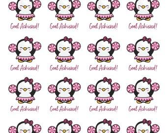 Penguin - Cheerleader - Goal Achieved! - Planner Stickers - All Planner Sizes - Happy Planner/Erin Condren/Recollections/BUJO/Plum Paper