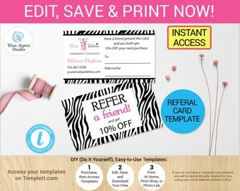 Pink Zebra Referral Card Business Cards Template Printable Digital Gift  Card Cash Coupon Independent Consultant Refer