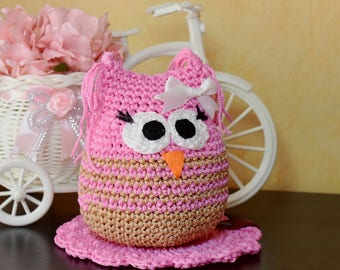 Pink Handmade Owl DEIZE, Crochet Toy, Ready to Ship, Amigurumi Toys