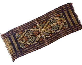 Tribal Table Runner, Indonesia Tapestry, Sumba Ikat Textile, Antique 1930s Ethnic Fabric, Blue And Beige, Handmade Decor, Indonesia Scarf