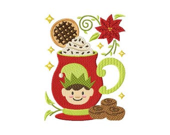 ITH Mug Rug Cookie Elf Drink Design: 5.25 to 5.75 Inch - In The Hoop Machine Embroidery Design for 6x6 hoop and above - Instant Download!