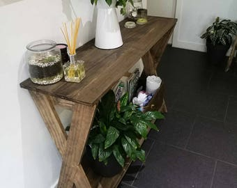 "Rustic farmhouse console table with ""X legs"""