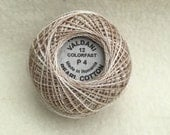 Valdani P4 Size 12 Pearl Cotton Variegated Hand Dyed Thread, Color Aged White