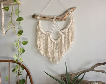 Small woven wall hanging with fringe; Macrame tapestry; Textile wall art