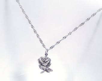 Cube Rose Flower Necklace in Solid Sterling 925 Silver (SN018)
