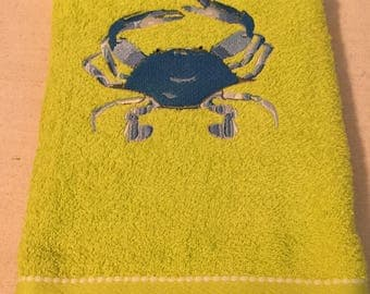 Embroidered Lime Green Beach Towel- Blue Crab