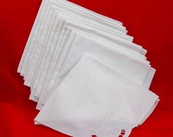 cutwork napkin set, vintage cotton napkin of 12 napkin, large napkins,white embroidered  vintage dinner napkins, cotton napkins,fee shipping