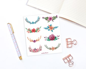 Floral stickers - 8 flower stickers for bullet journals and planners, planner stickers, decorative stickers, bullet journal stickers