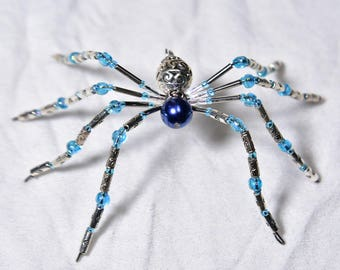 Silver and Blue Beaded Spider