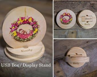 Customised Personalised Round USB box / display stand wooden wood 4gb 8gb 16gb 32gb 64gb newborn wedding photography photo