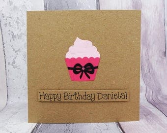 Cupcake birthday card, Colour choice: pink, blue, Handmade Happy Birthday card, Personalised card with name, Funny birthday card with pun,
