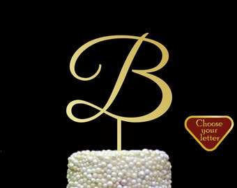Letter B Cake Topper, initial cake topper, wedding cake topper gold, letter cake toppers for wedding, cake topper wedding letter b, CT#127