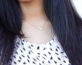 Cut Flower Rose gold necklace