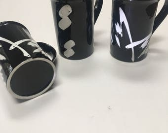 Vintage Black & White Mug Trio / Black Eighties Coffee Mugs / Eighties Coffee Mugs