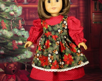 Christmas Doll Dress For 18 inch Doll, Doll Clothes, Dress, Fits American Girl, Springfield, Madame Alexander, Free Shipping, American Made