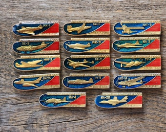 Aviation pins Collection of pins History pin Aircraft decor Soviet airplane pins and patches Aircraft art gifts for aviator Military pins