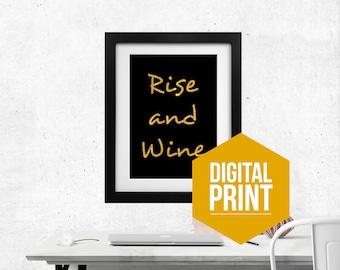 Rise and Wine Wall Art Vino Wine Decor Kitchen Decor Wine Wall Decor Wine Sign Wine Gift