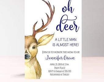 Oh Deer Baby Shower Invitation Boy, Woodland Baby Shower Invitation Boy, Instant Download, Printable Its a boy Baby Shower Invitation, W1