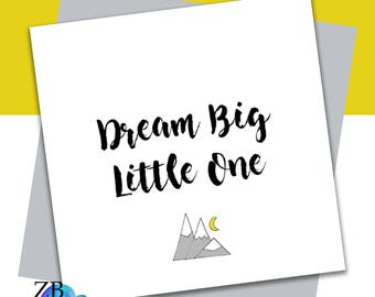 Dream Big Little One Card - New Baby - Baby Shower - Baby Card - ZB Design - Handmade Card