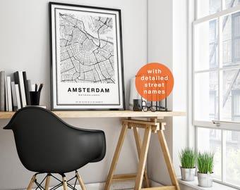 Amsterdam Map, Amsterdam City Map, Amsterdam Map Print, Amsterdam Print, Amsterdam Poster, Amsterdam Map Art, Map of Amsterdam Wall Art