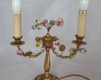 Vintage Brass and flower twin lamp