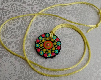 FREE SHIPPING / Hand Painted Necklace / Mandala / Dot Jewelry / Mandala Art / Dot Painted Pendant / Painted Wooden Necklace #A6