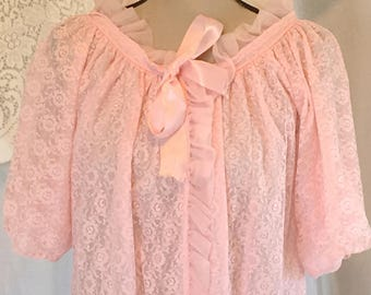 Vintage 1950's Bubblegum Pink Lace Robe by Ginsburg