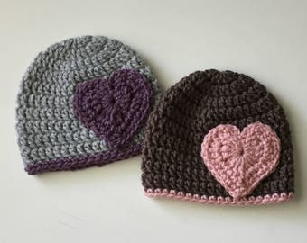 Crochet Newborn Baby Hat, Crochet Baby Hat, Infant Hat with Heart, Newborn Photo Prop, Baby Beanie Hat,Baby Shower Gift, Infant Hospital Hat