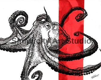 Octopus Original Artwork Prints / Various Colors Available/ Various Sizes Available