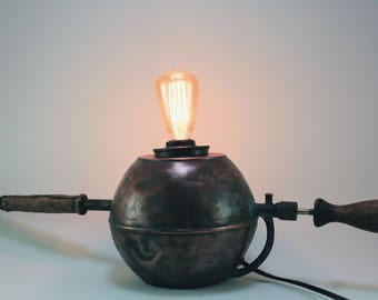 Antique  copper sprayer converted to unique table lamp