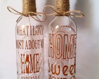 Led Light Up Bottle, Home Sweet Home, Home, Wine Bottle, Home Decor, New Home, Gift, House Warming Gift, Led Lights, Fairy Lights